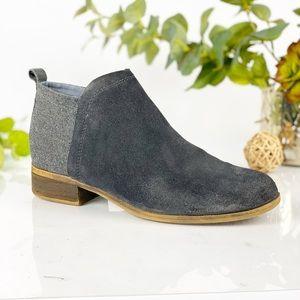 Toms Gray Flat Ankle Bootie Suede Wool Side Zip